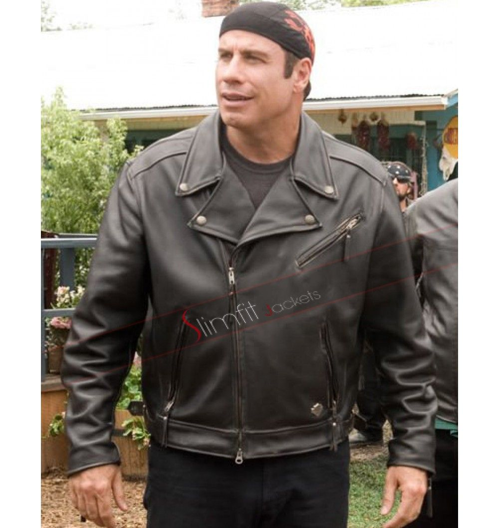 Wild Hogs John Travolta Woody Stevens Biker Leather Jacket Leather Jacket Biker Leather Handsome Wear [ 1059 x 1000 Pixel ]