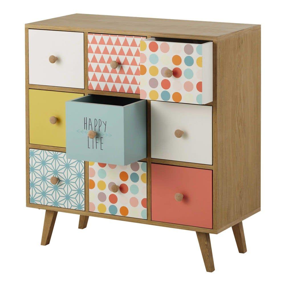 Multicoloured 9 Drawer Storage Cabinet Alix Maisons Du Monde In 2020 Girls Furniture Work Office Decor Wooden Cabinets
