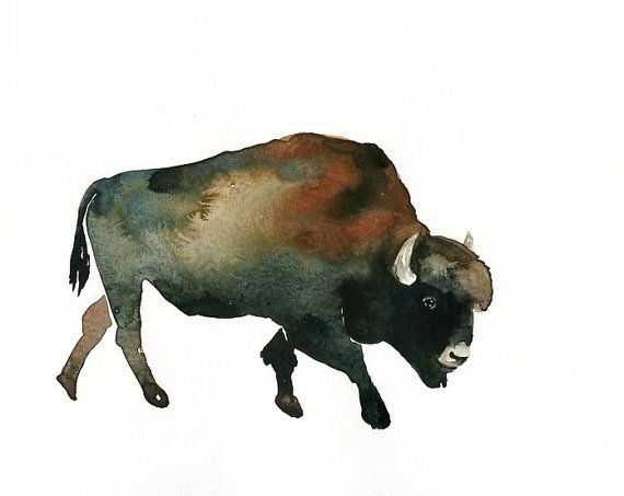 Bison By Dimdi Original Watercolor Painting 10x8inch Bison