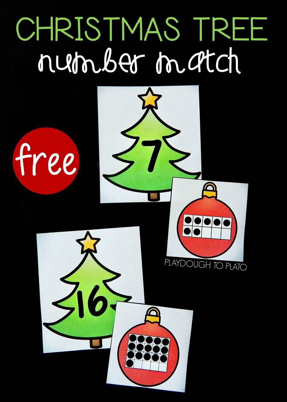 Christmas Tree Number Match Christmas math