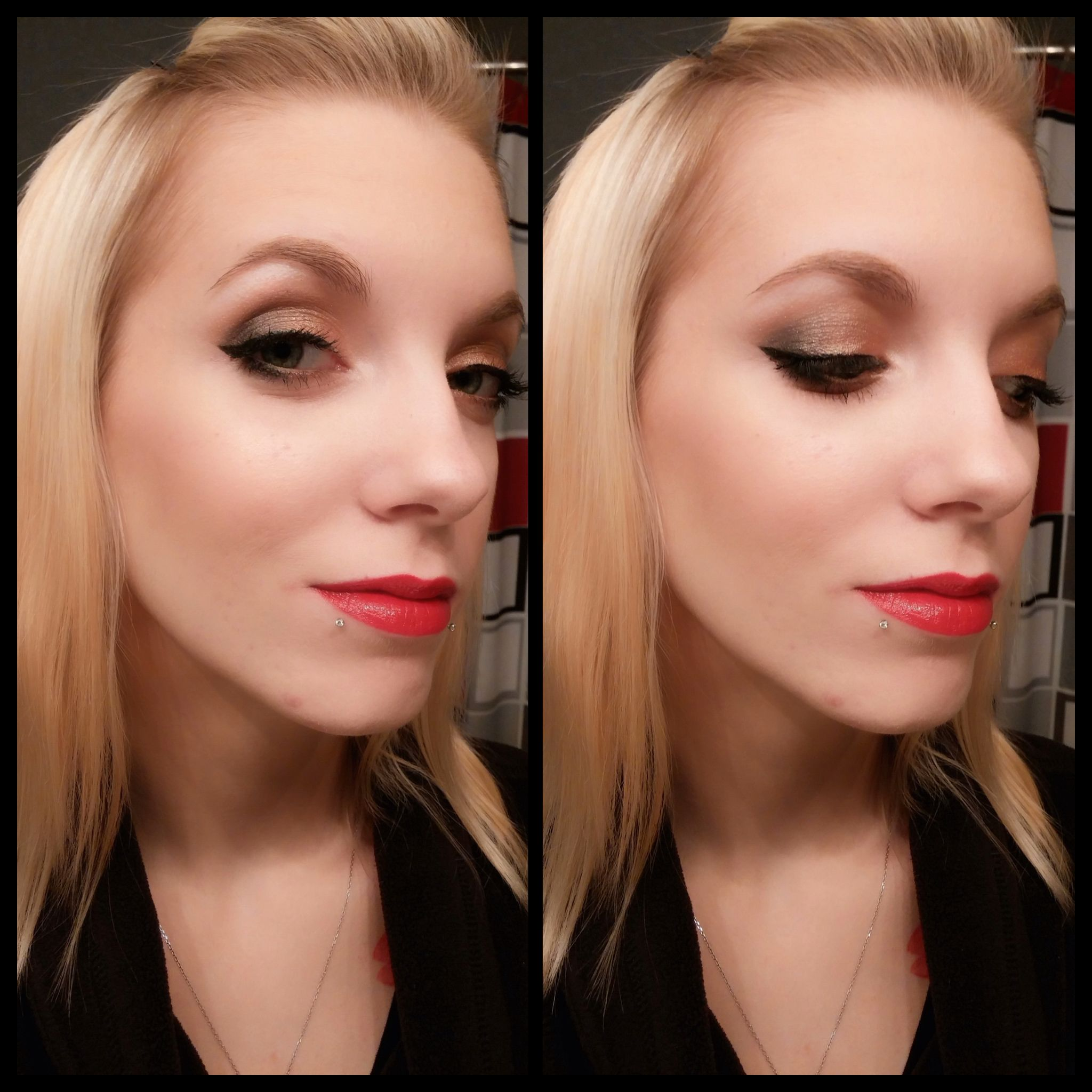 Makeup Geek foiled shadow, cat eye, and red lips