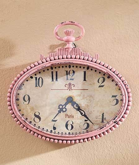 Small Pink Vintage Pocket Watch Design Metal Wall Clock Bathroom Kitchen Bedroom