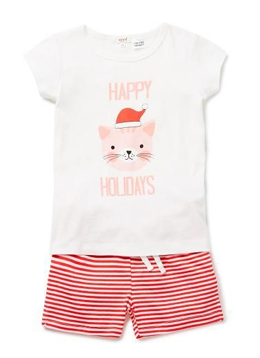 100% Cotton PJ. Short sleeve top, and shorts pyjama set in 1x1 rib. Features festive penguin motif on front with yarn-dyed striped pant. Regular fitting silhouette. Available in Poppy Red.