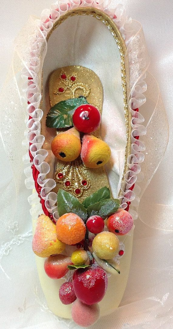 Nutcracker Marzipan themed pointe shoe. by DesignsEnPointe on Etsy