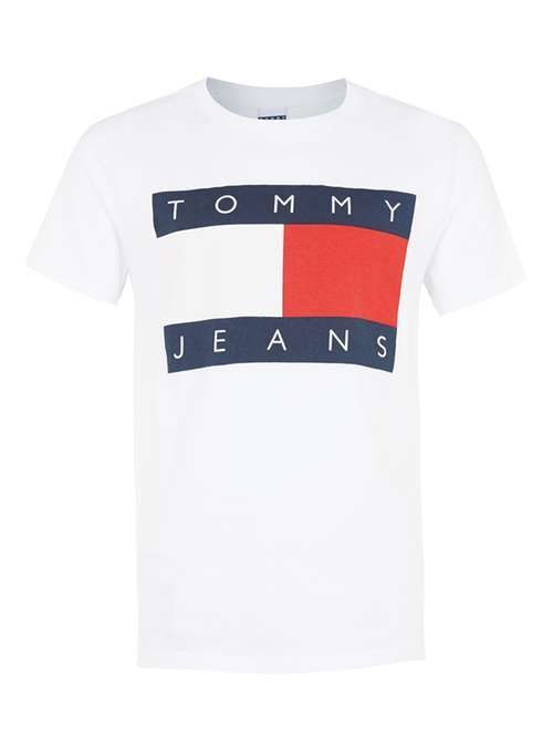 d083a9bd Tommy Jeans White Logo T-shirt - Branded T-shirts and Vests - Brands -  TOPMAN