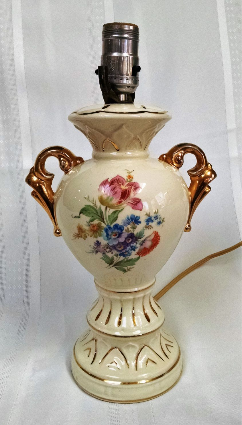 Vintage Ceramic/China Lamp With Floral Design And Ornate Gold Trim   Table  Lamp By