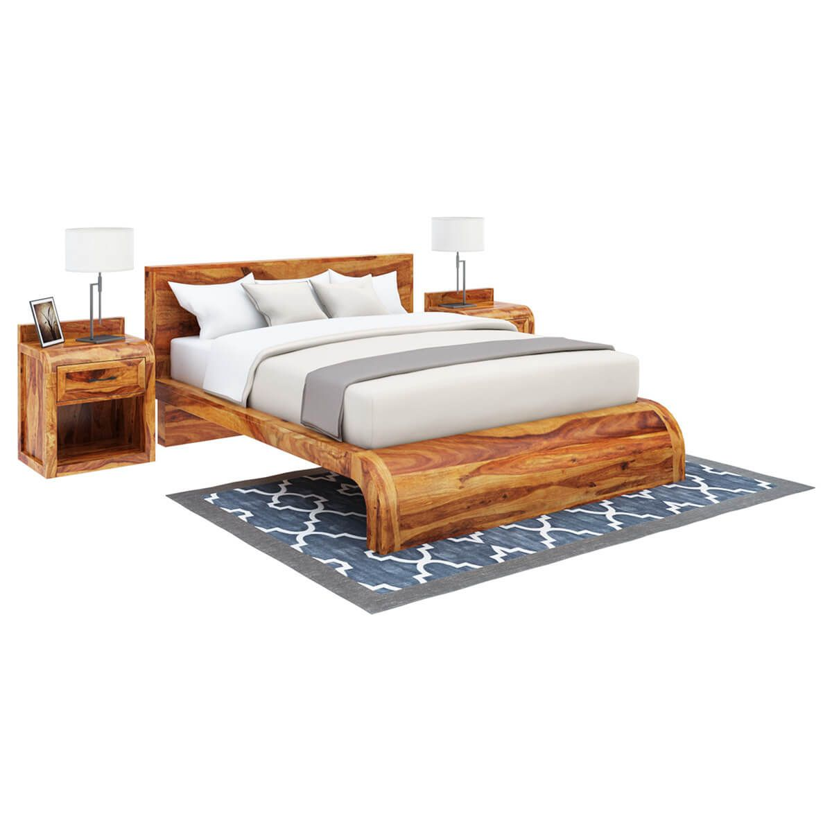 Rebecca Solid Wood Curved Platform Bed Bedroom Sets Bedroom Set