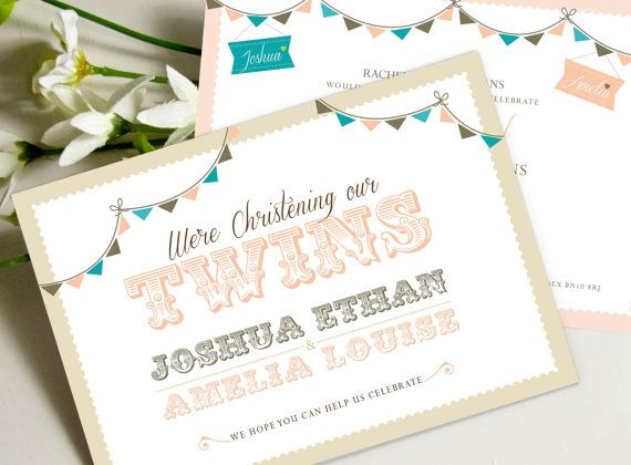 Twin Christening PRINTABLE Invitations as Jpeg or PDF Baptism - naming ceremony invitation