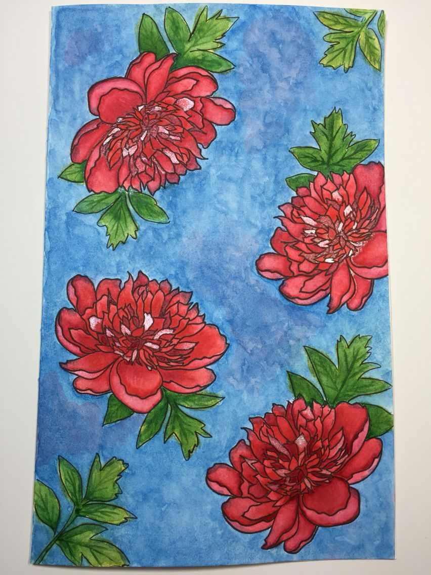 Watercolor piece using large peony 1 stamp from the ton