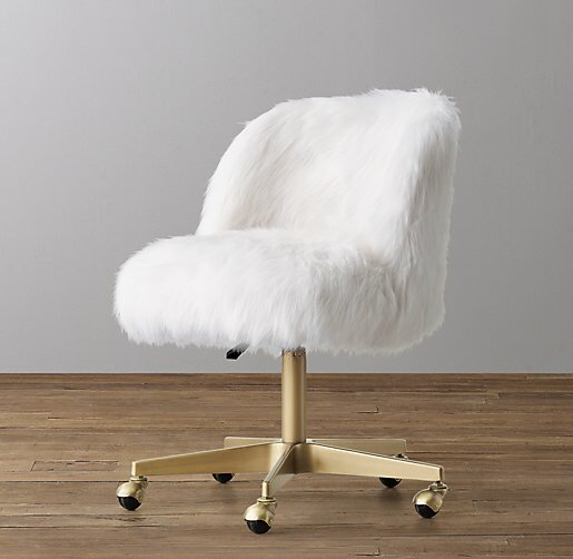Alessa Kashmir Faux Fur Desk Chair Antiqued Brass White Desk Chair Girls Desk Chair Bedroom Desk Chair