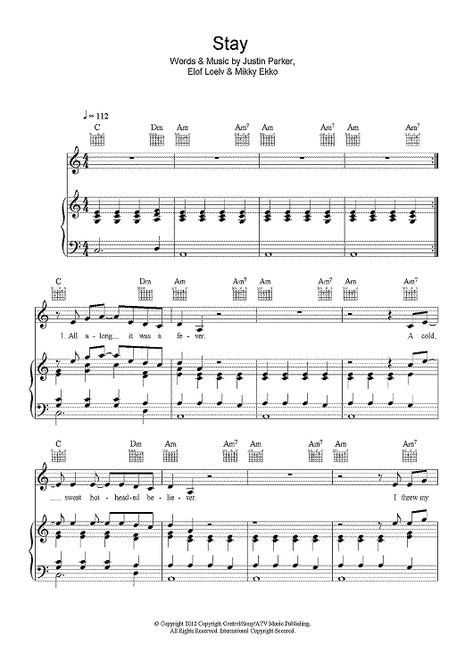 Stay Sheet Music: www.onlinesheetmusic.com | Music in my soul ...