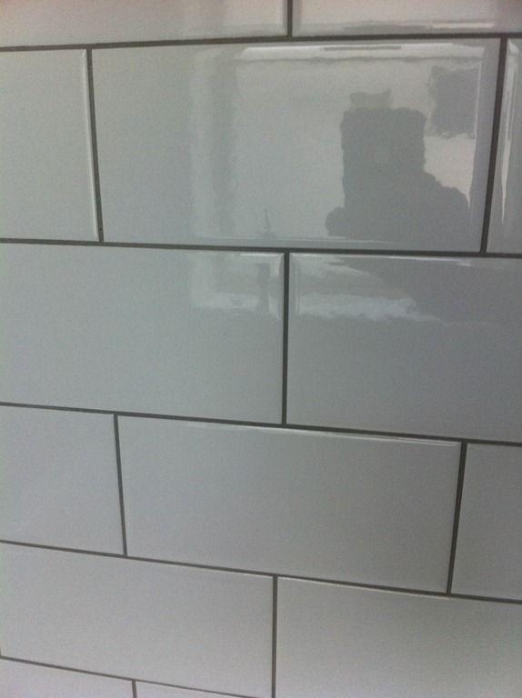 White Tiles Grey Grout Bathroom