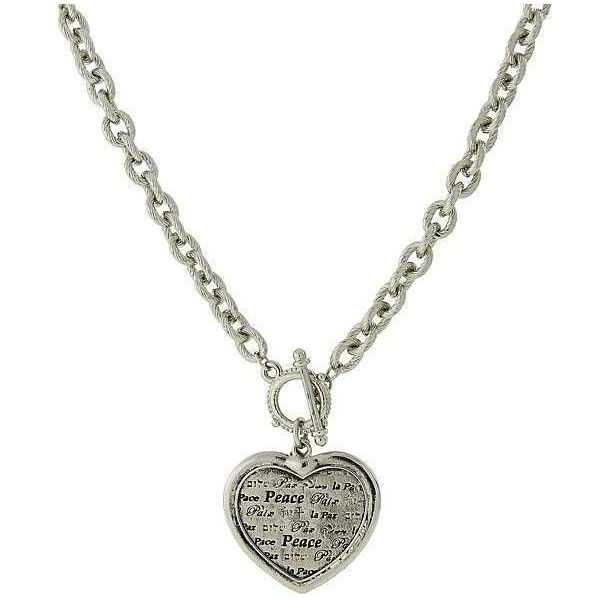 1928 jewelry silver tone heart peace toggle necklace 18 25 1928 jewelry silver tone heart peace toggle necklace 18 25 aloadofball Choice Image