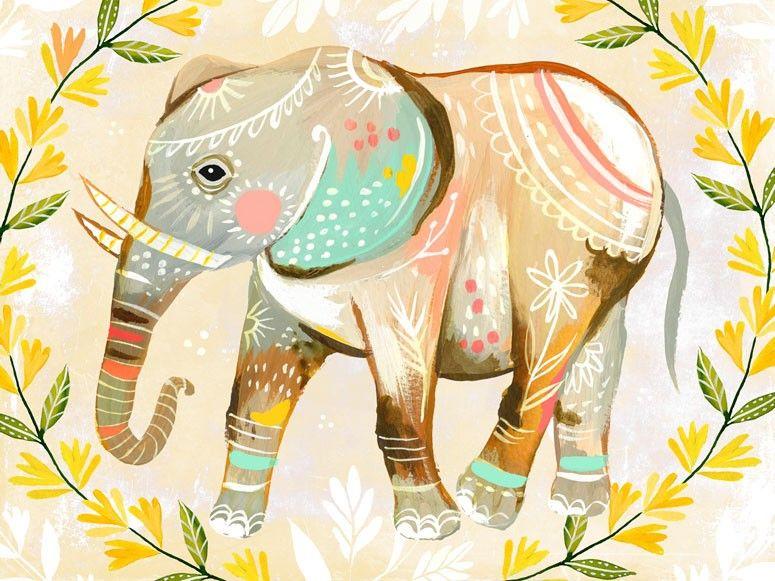Wild Flower Elephant - Canvas Wall Art, Framed Art Print, or Decal ...