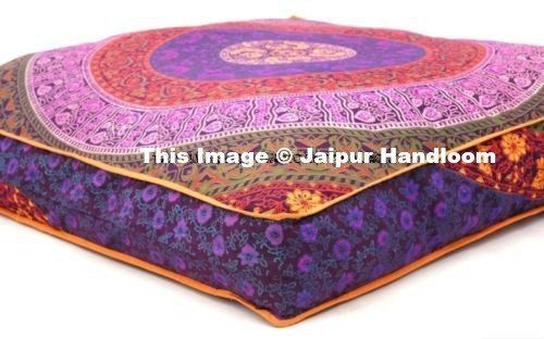Indian Mandala Square Floor Pillow Outdoor Ottoman Pouf Cover ...