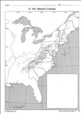 free printable map of the 13 colonies