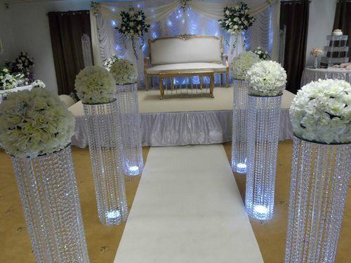 3 Feet Iridescent Wedding Aisle Decoration Crystal Pillars Pedestals Columns Ebay Hotel Decor Bruiloft Tafel