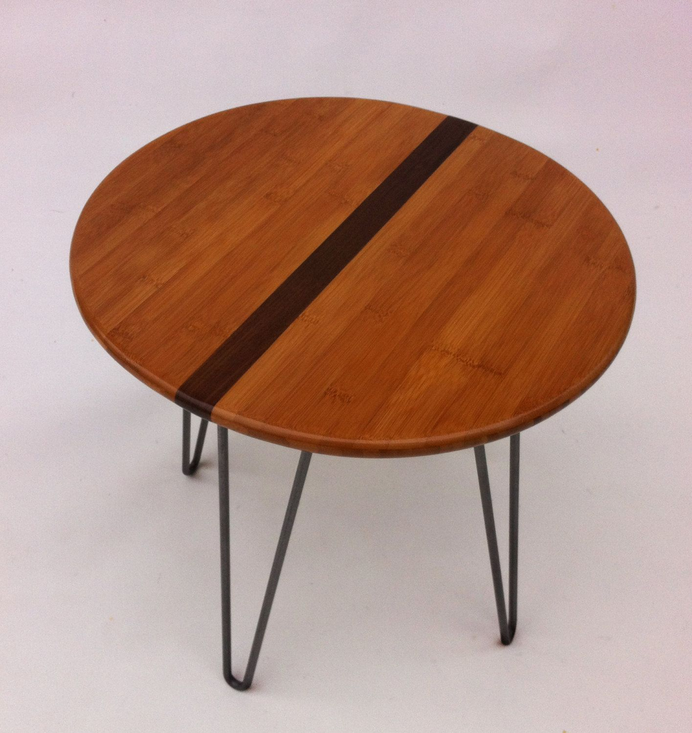 Pair of Round Mid Century Modern Side Table With Walnut Inlay -18 ...