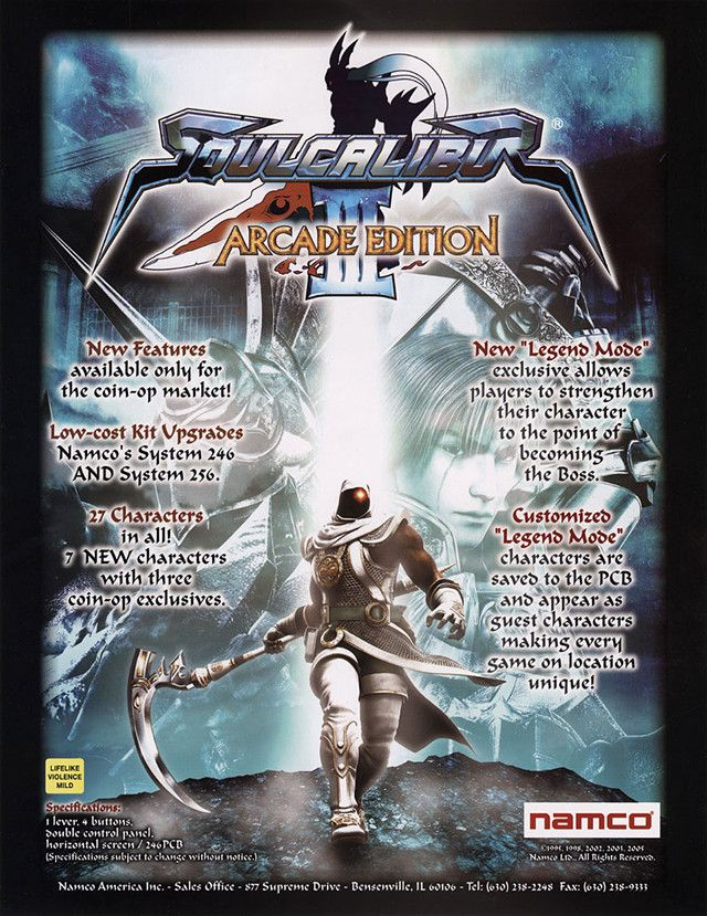 Soul Calibur III - Due to players' request, the development of an arcade version started. And here's the result: 27 characters including 3 totally new ones, a tuned gameplay and more balanced fighters.