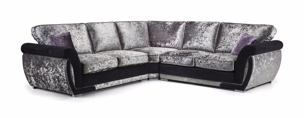 Joshy Silver Black Crushed Velvet Large 5 Seat Corner Sofa Home Living Room Interior Design Ideas In 2020 Sofa Set Sofa Fabric Sofa