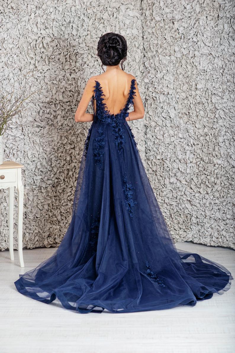 Blue wedding dress   Banquet dresses, Navy blue wedding dress ...