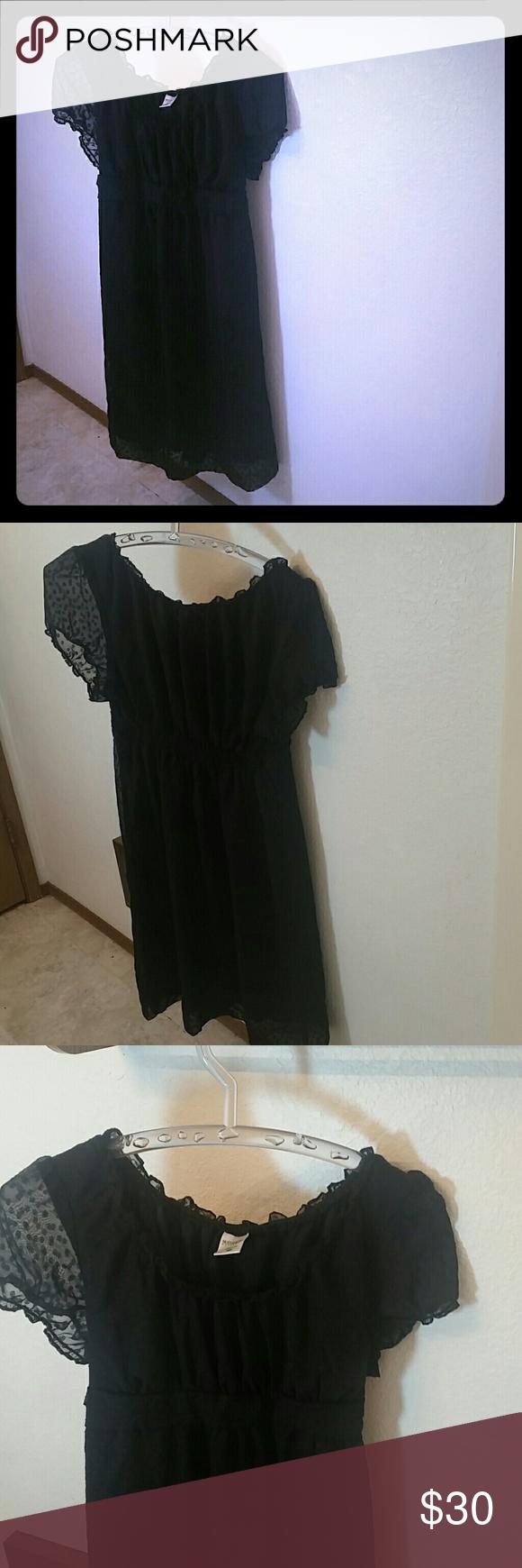Dress Black polka dot dress Motherhood Maternity Dresses Midi
