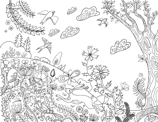 Free printable spring day adult coloring page. Download it in PDF ...