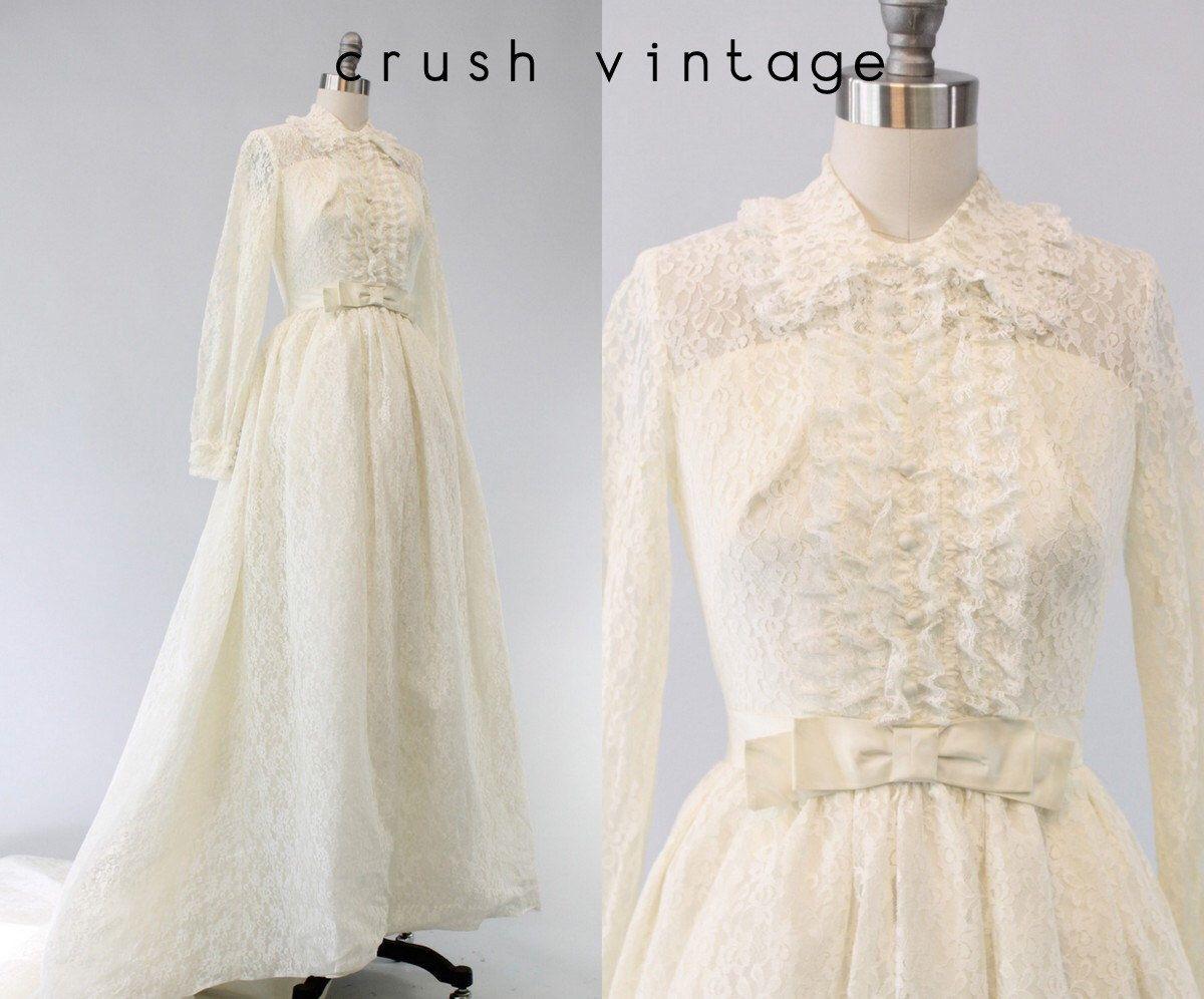 60s wedding dress  s Wedding Dress Lace XS  s Lace Dress  Tender Tendu Gown by