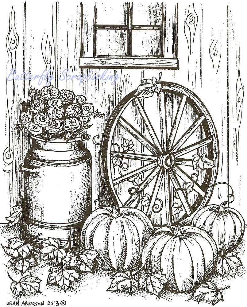 Fall Pumpkin Wagon Wheel Wood Mounted Rubber Stamp Northwoods Rubber ...