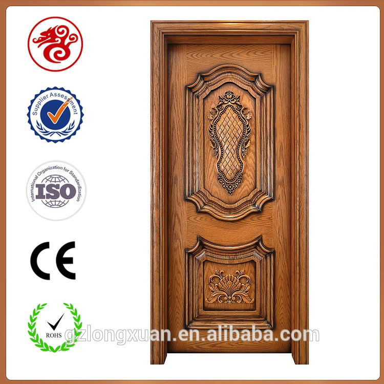 Luxury design teak single main carved wood door models for Indian main double door designs