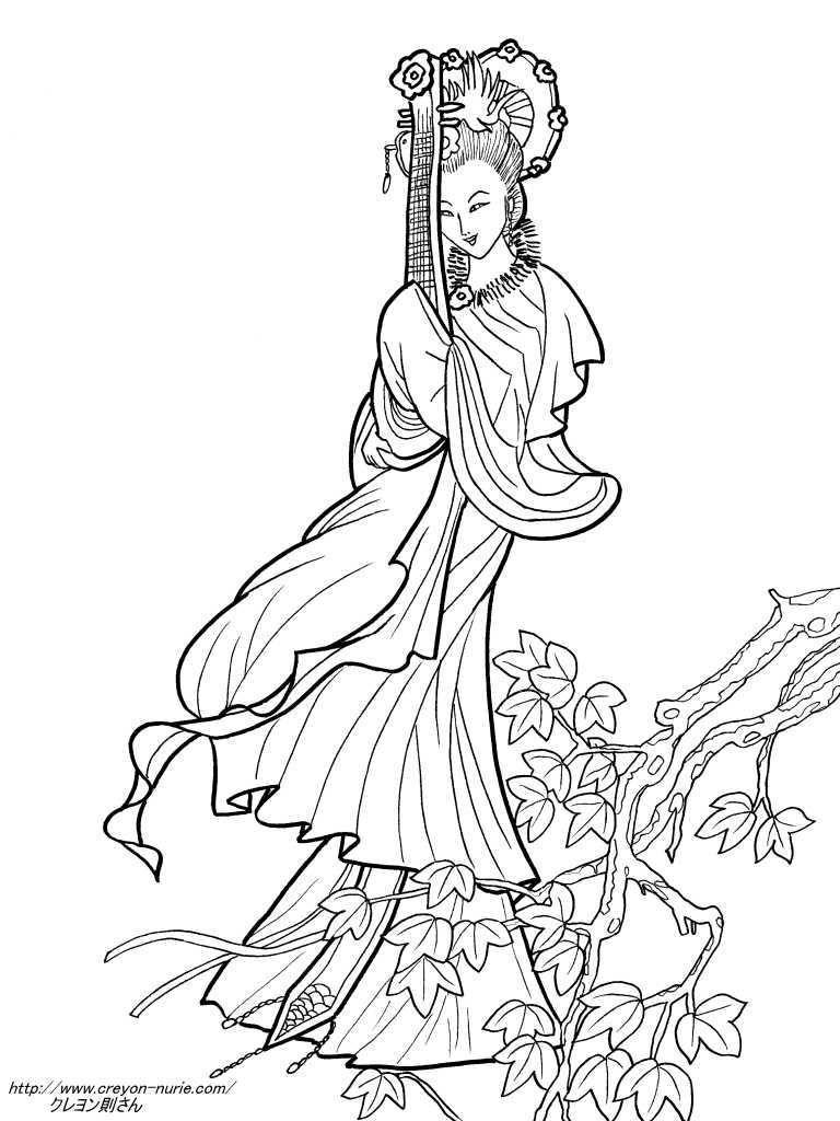 紅葉琵琶を持つ美女の塗り絵の下絵画像 透かし彫 Pinterest