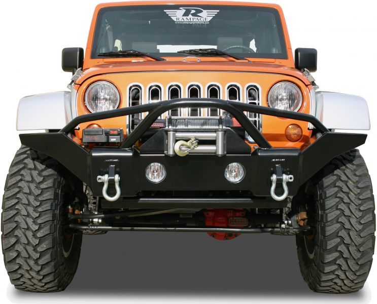 Rampage Products Smooth Finish Front Recovery Bumper W Stinger For 07 12 Jeep Wrangler Jk Jk Unlimited Jeep Wrangler Jeep Bumpers Jeep Wrangler Bumpers