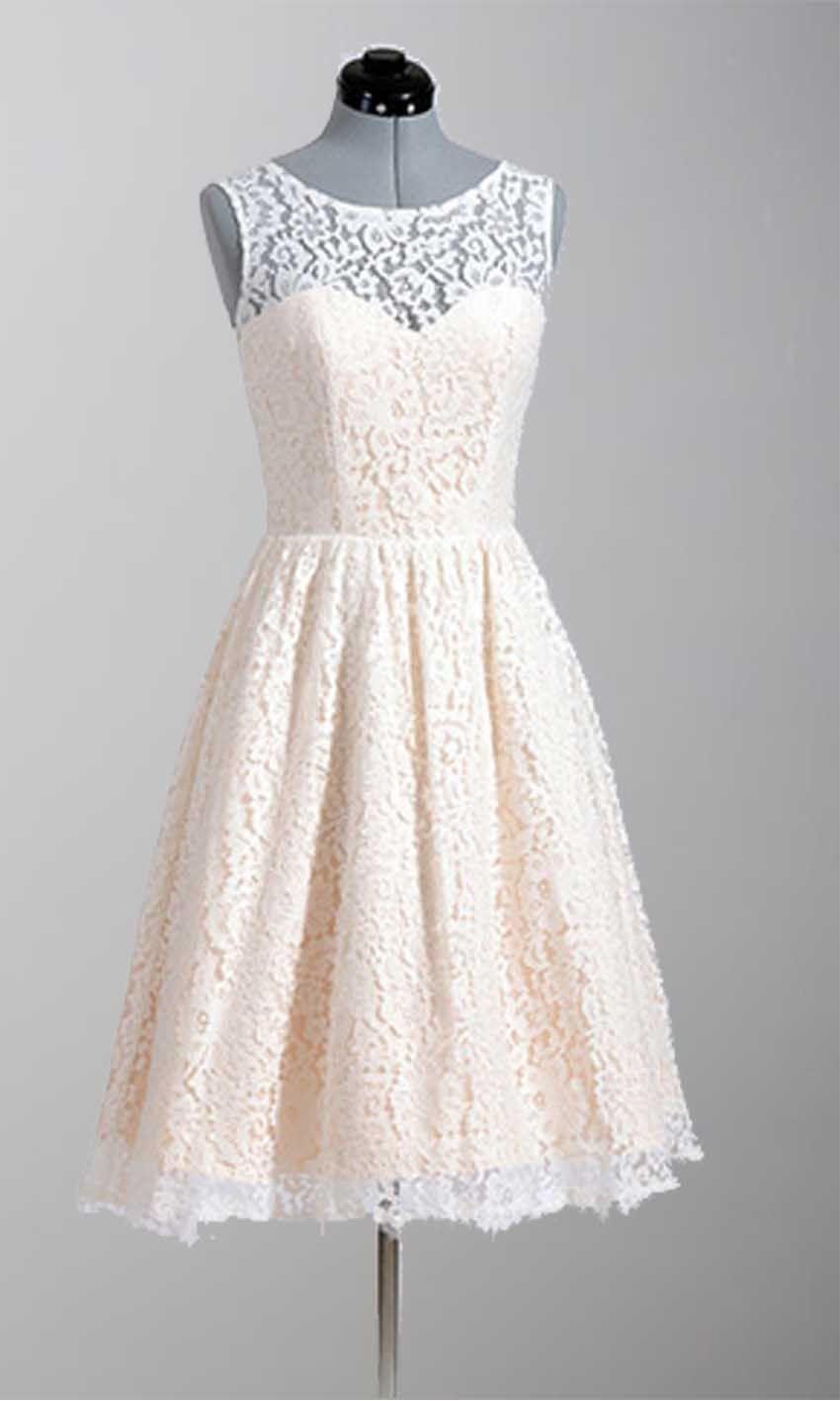 Knee Length Modern Lace Vintage Wedding Party Dresses