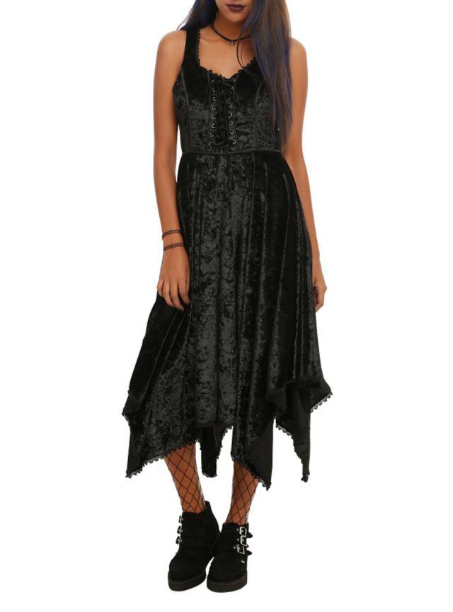 Black Velvet Hanky Hem Dress | Hot Topic