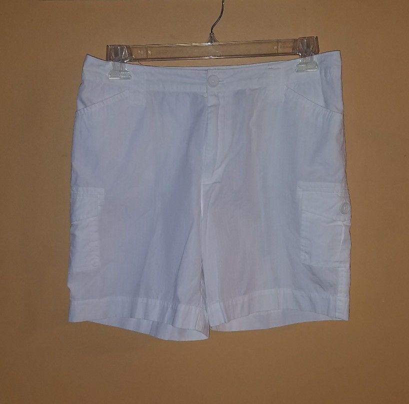 Womens Caribbean Joe Let Go White 6 pocket textured Cotton Cargo ...