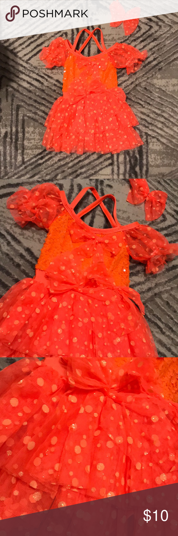 603a728e0 Recital Dress-Orange w  Polka Dots and Bow Details in 2018
