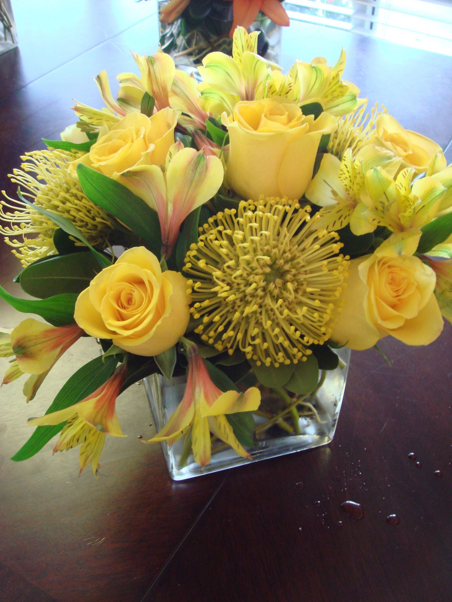 Simply Yellow Spancube Designed With Yellow Asltroemeria Rose