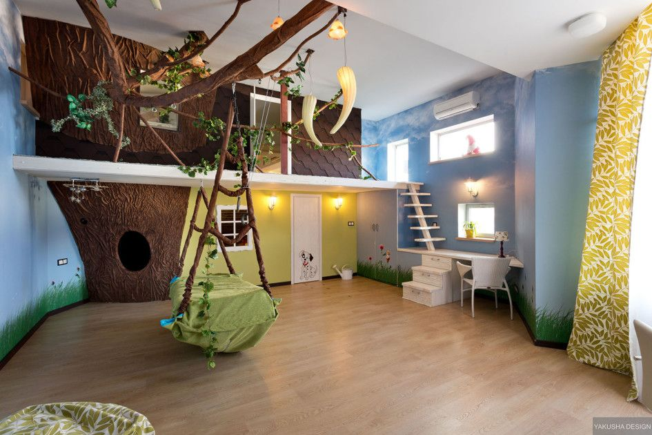 childrens-tree-house-playroom-with-swing-on-pastel-blue-background