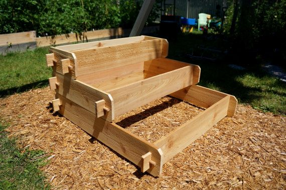 Raised Planter Garden Gift Wooden Planter Box Outdoor Planter Herb Garden Vegetable Garden Cedar Raised Garden Bed Kit 3 Tier 1x3 2x3 3x3