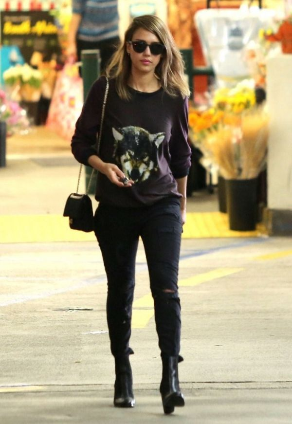 Sweater With Wolf Face Ripped Black Jeans Small Purse With Long