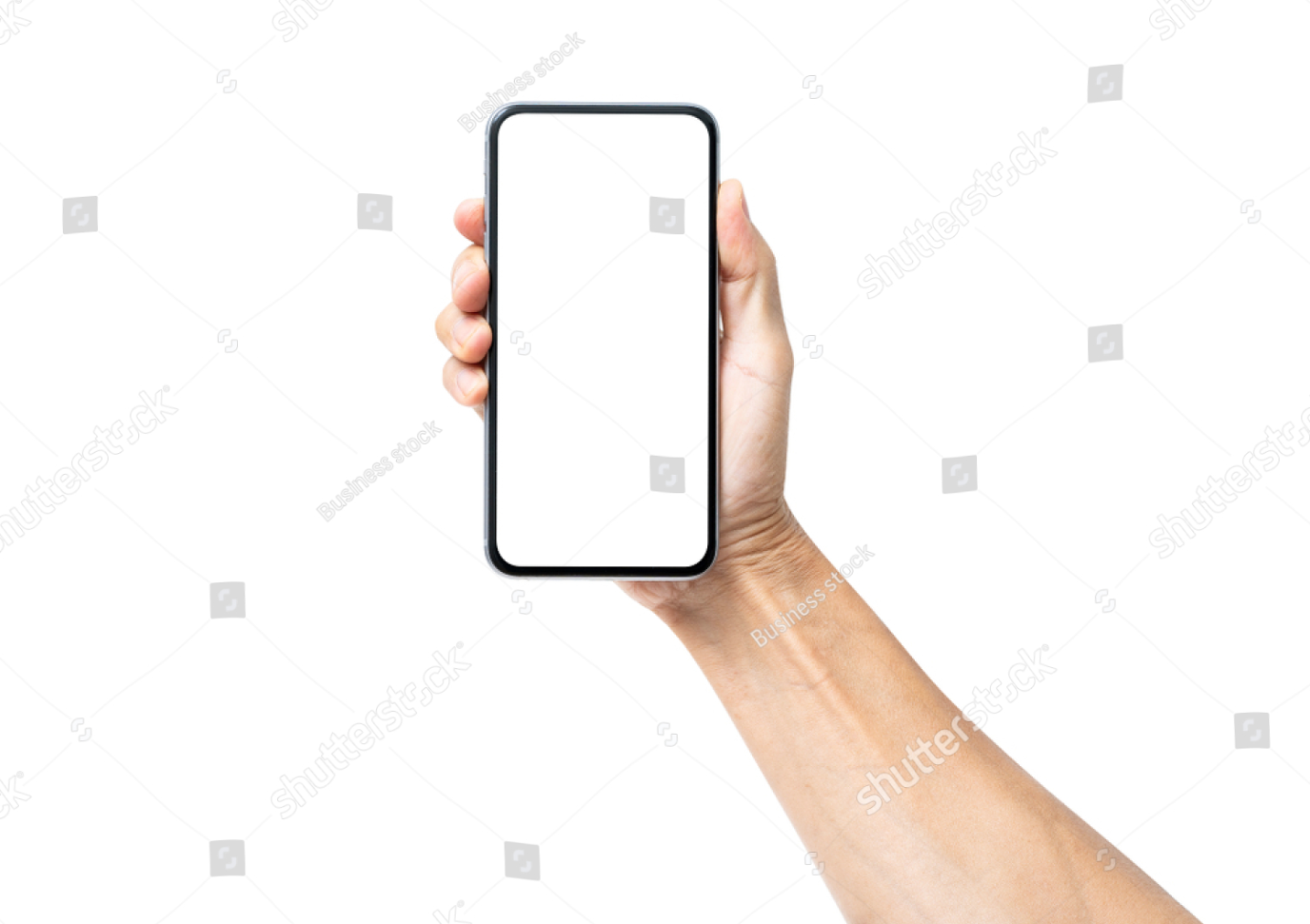 Man Hand Holding Black Smartphone Isolated On White Background Clipping Path Male Hands Photo Editing Stock Photos
