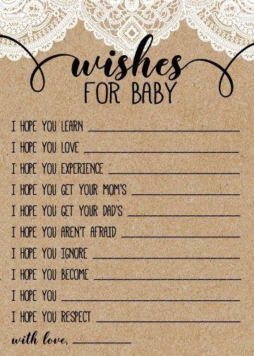 Photo of Juego de Baby Shower rústico de arpillera y encaje, deseos para el juego de papel Kraft para bebé, archivo digital imprimible