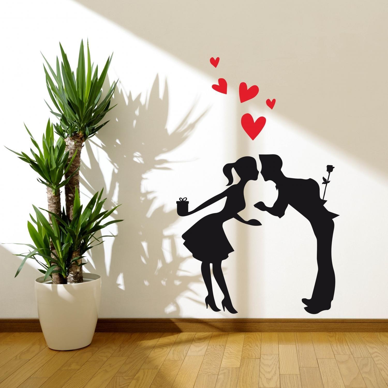 Stickers Da Muro.Adesivi Da Parete San Valentino Kiss Wall Sticker