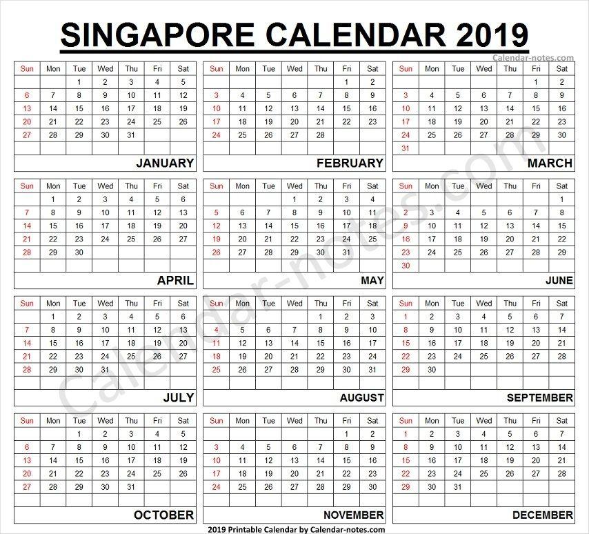 2019 Calendar Singapore Printable 2019 Calendar Calendar