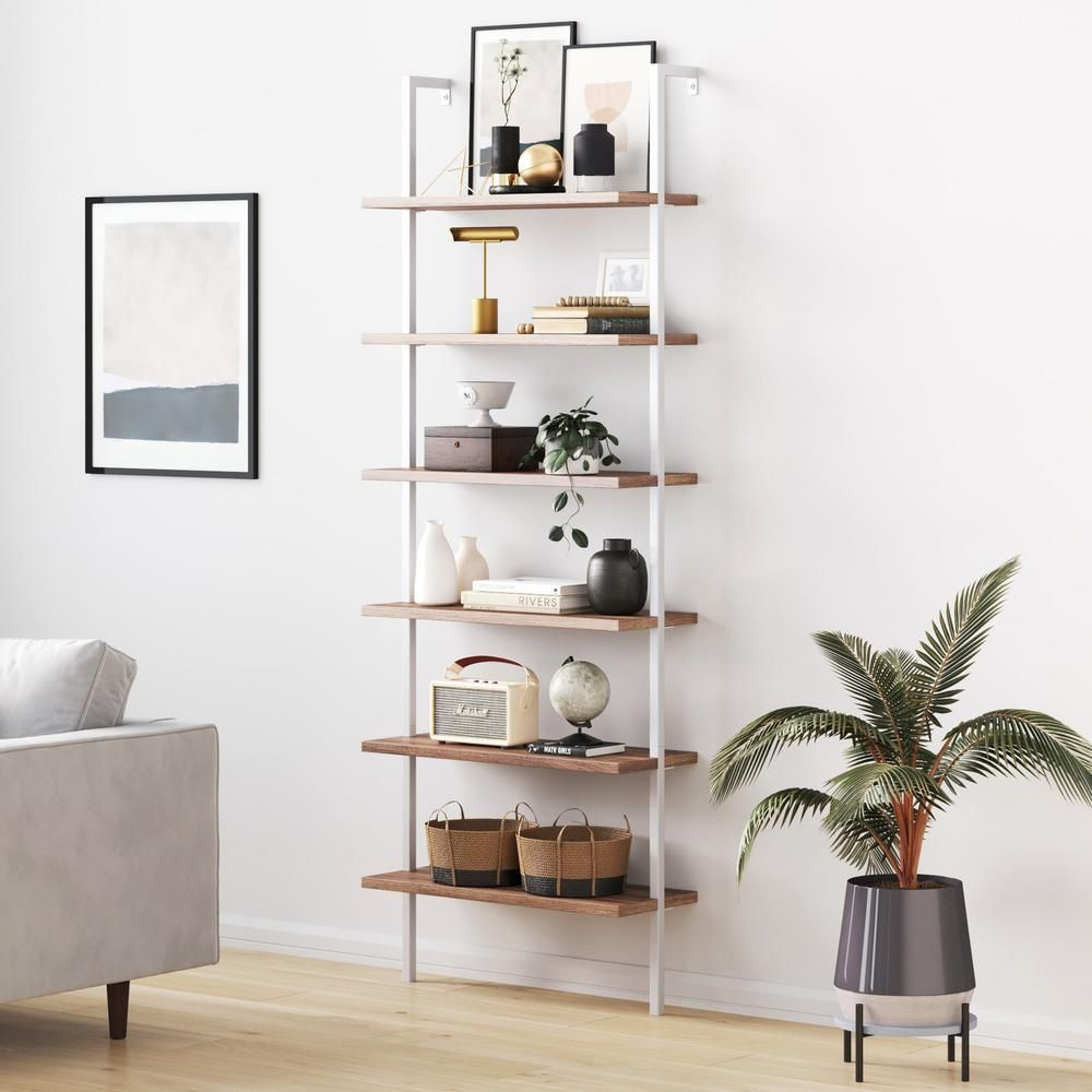 Nathan James 85 In Rustic Oak Matte White Metal 6 Shelf Ladder Bookcase With Open Back 65602 In 2020 Wall Mounted Bookshelves Bookcase Wall Bookcase