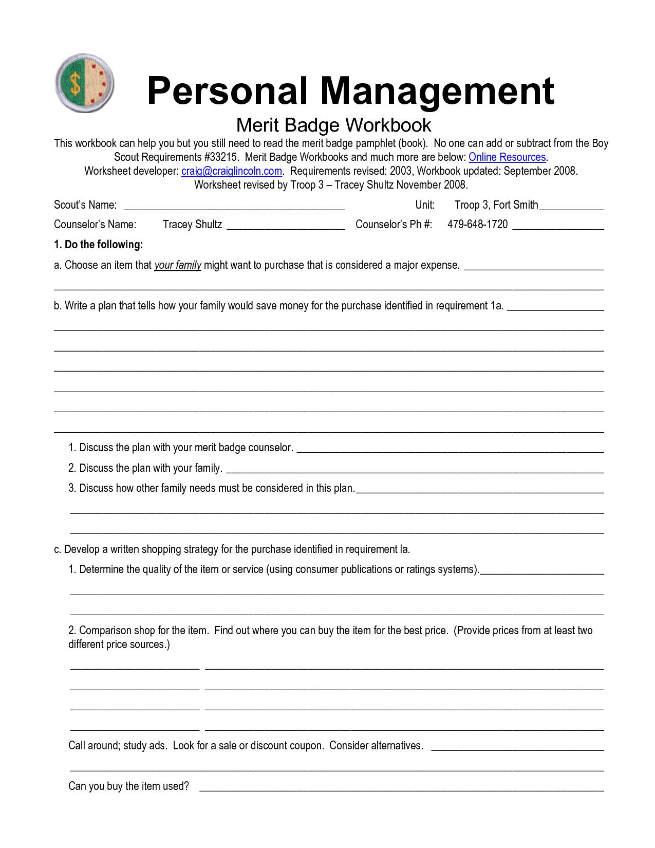 Boy Scout Personal Management Merit Badge Worksheet