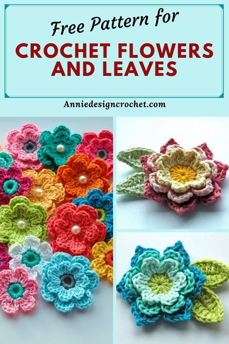 Crochet Flowers and Leaves - Free Pattern