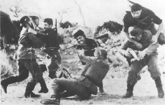 Cretans attacking 3 Germans battle of Crete 1941. Island of the brave. 8000 German paratroopers dropped on a tiny island and the Greek resistance with little help from British killed more then half the troops as they were coming down. The Greeks would stab them with pitchforks and steal their weapons. Fields of blood ran.