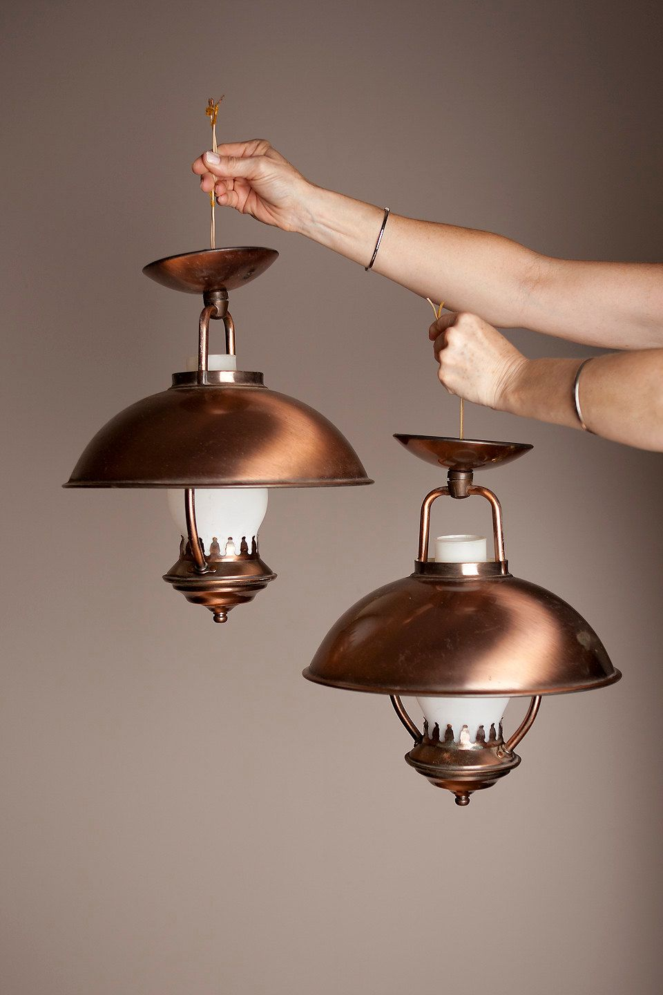 Set Mid Century Retro Colonial Copper Lantern Ceiling Electric Light ...