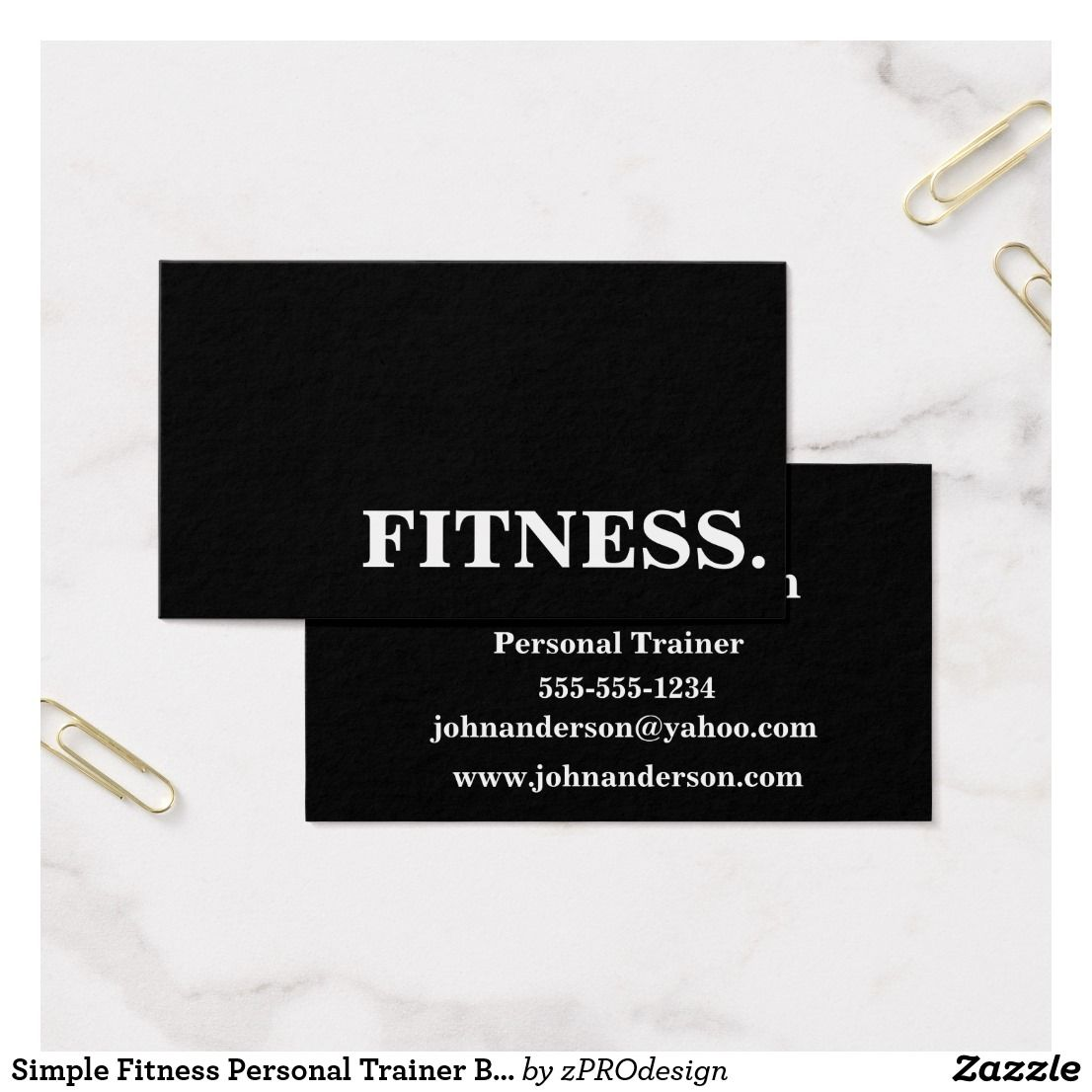Simple Fitness Personal Trainer Business Card Zazzle Com Personal Trainer Business Card Easy Workouts Online Fitness Trainer